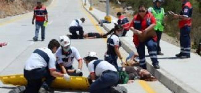 México: Socorristas evaluados con un simulacro de atropellamiento