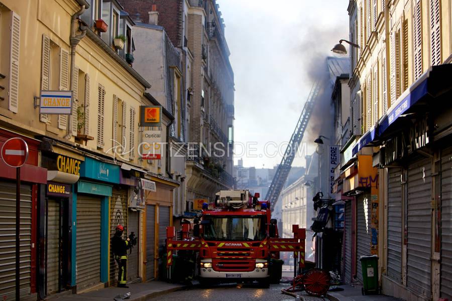 Incendie en rue Myrha à Paris