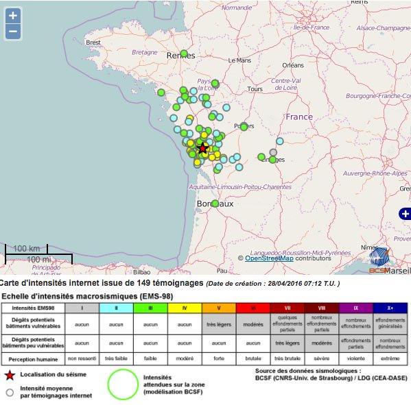 La terre a tremble à la Rochelle