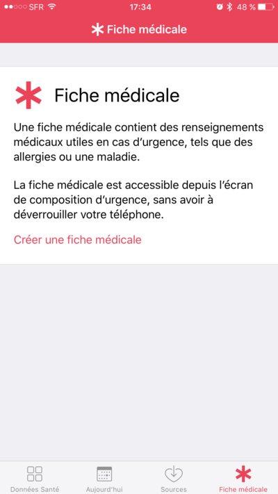 Fiche médicale d'urgence sur iOS 10