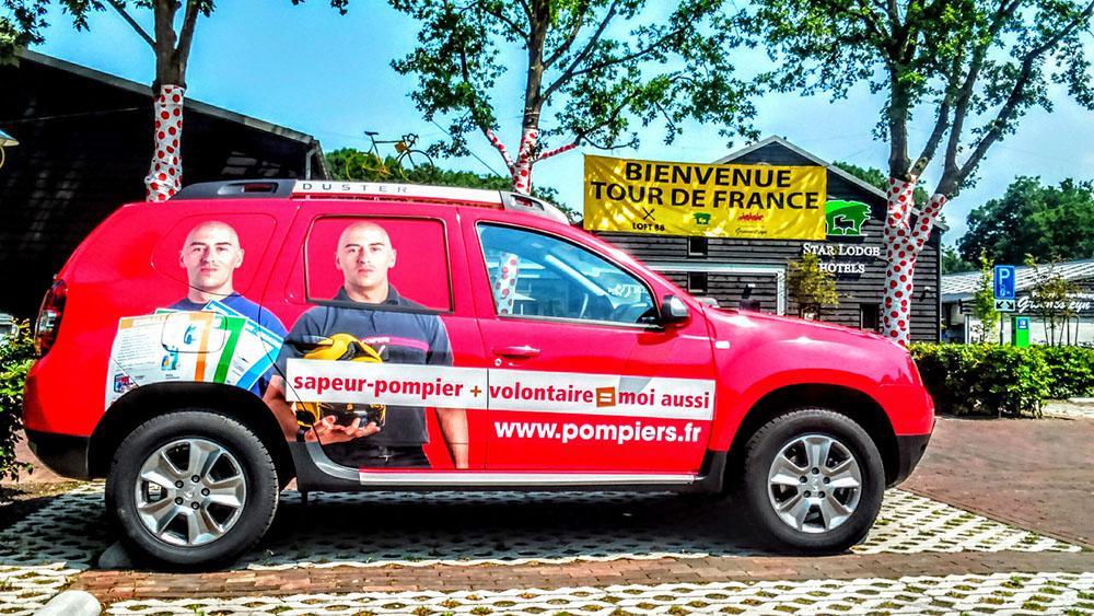 Les Sapeurs-Pompiers de France au dernier sprint du Tour de France