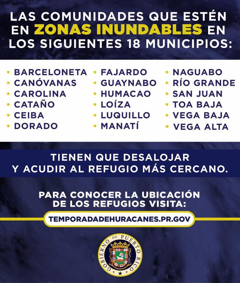 Para los residentes de los municipios en foto: si su comunidad queda en zona inundable, entra al siguiente enlace e identifica tu refugio:temporadadehuracanes.pr.gov