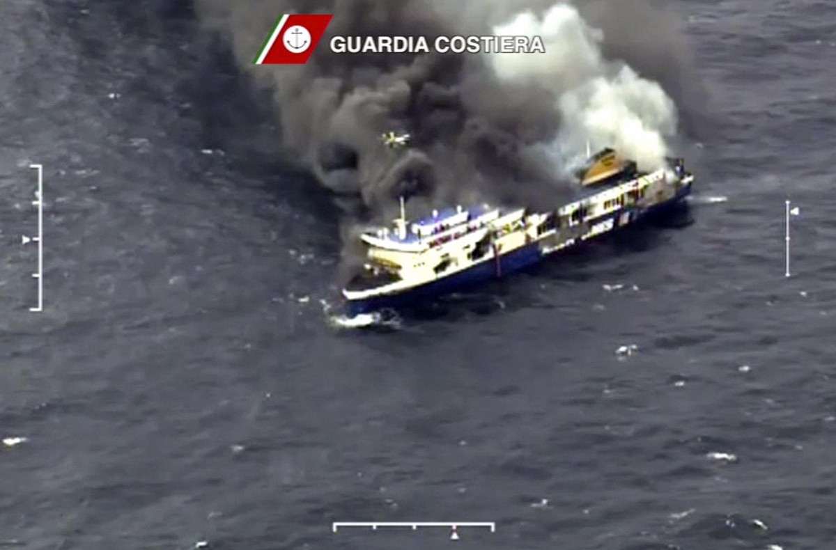 Handout video grab showing car ferry Norman Atlantic burning in waters off Greece
