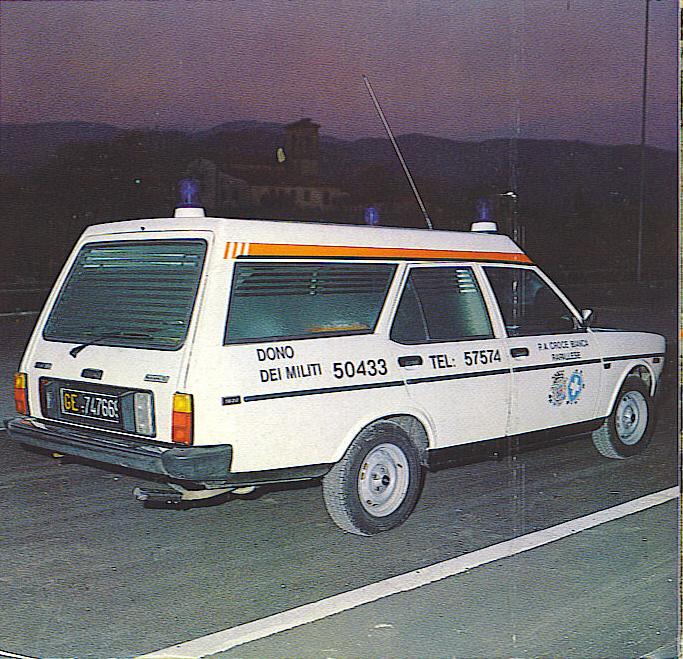 Foto 06: Risale al 1979 questa bella Fiat 131 2.000 Supermirafiori, venduta alla Croce Bianca di Rapallo (GE) – foto da depliant M.A.F.