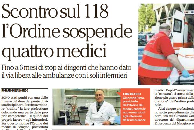 L'Ordine dei Medici di Bologna fa infurirare tutti i professionisti dell'emergenza 118