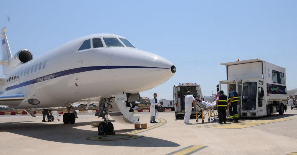 trasporto del paziente sul Falcon-2
