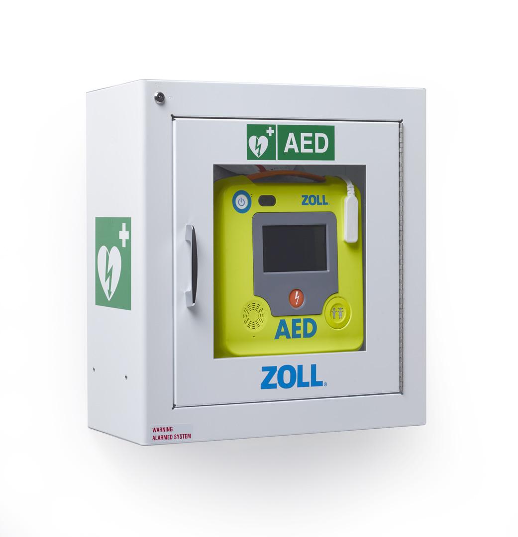 defibrillatore con teca di sicurezza