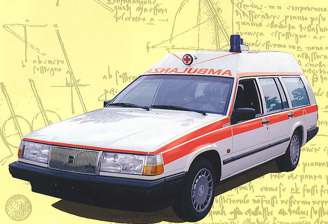 Foto 27: volvo 740/940, una delle ultime ambulanze su meccaniche di berline o familiari ad essere prodotte – foto da depliant M.A.F.