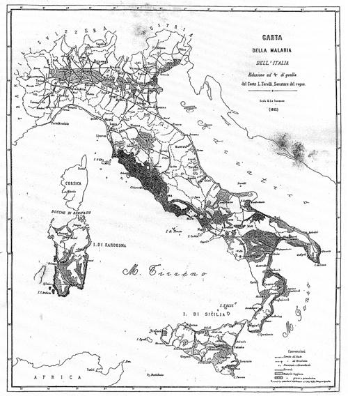 CARTA DELLA MALARIA 1882