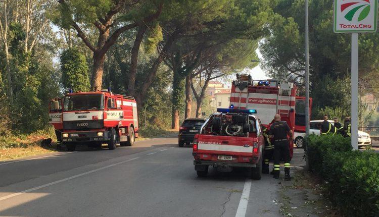 Squadre dei Vigili del Fuoco a Calci, nei pressi dell'incendio