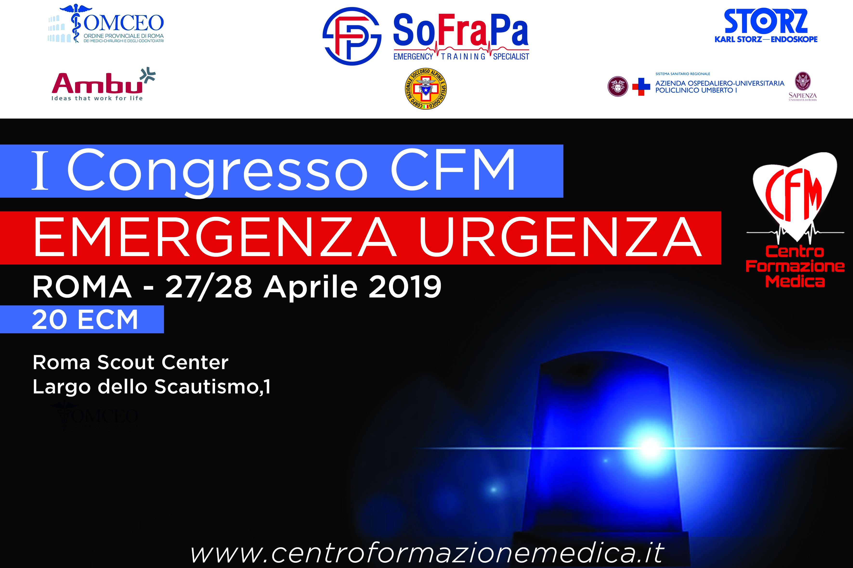 Roma, ad aprile il primo congresso della CFM sulla pratica clinica nelle emergenze urgenze