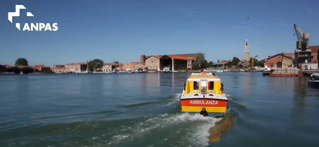 Venice on ambulance, a special boat for rescue workers