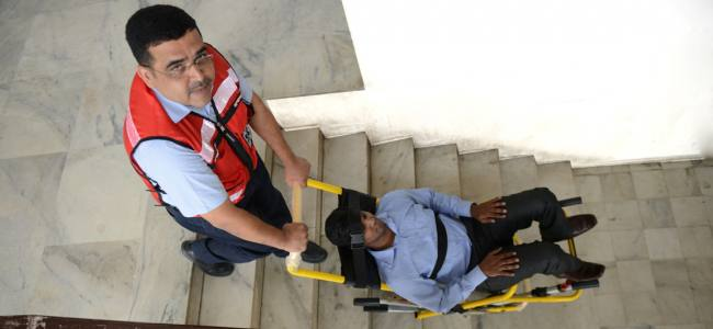 Improving safety of the physically challenged during building emergencies