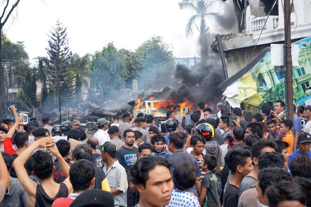 Plane crash in Medan, Indonesia. At least 74 have been killed