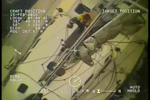 VIDEO:  Coast Guard helicopter's crew rescues sailors in winter storm