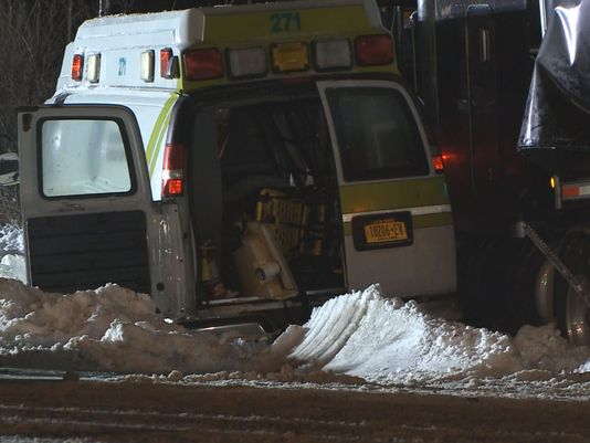 Man die after collision between ambulance and truck in Evans, New York