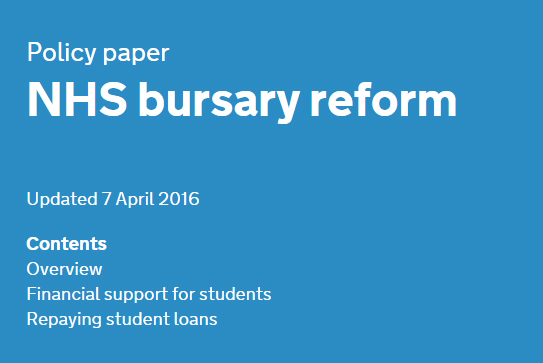 NHS bursary reform, from 1 August 2017 no more founds for students