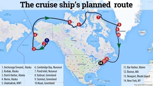 First Touristc Cruise Ship On Northwest Passage Canadian Coast - Map of alaska cruise ship routes