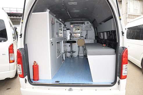 1 An inside look in the back of a WHO-supported mobile clinic deployed in the Syrian Arab Republic.