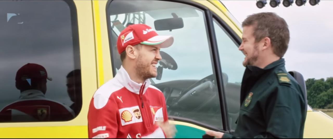 Sebastian Vettel drive NHS Ambulance for Shell