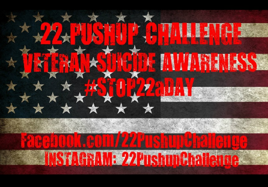The #22PushUpChallenge honors the 22 veterans who die by suicide each day from PTSD