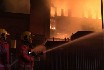 Oldham paper mill fire in Manchester, look the remotely control platform of the GM Fire Brigade