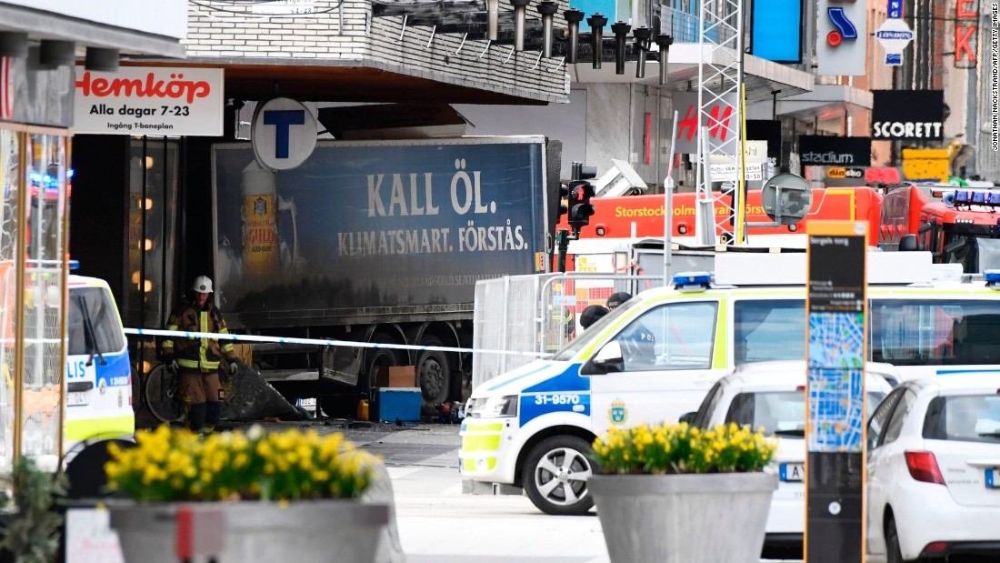 Stockholm, truck drives into crowds