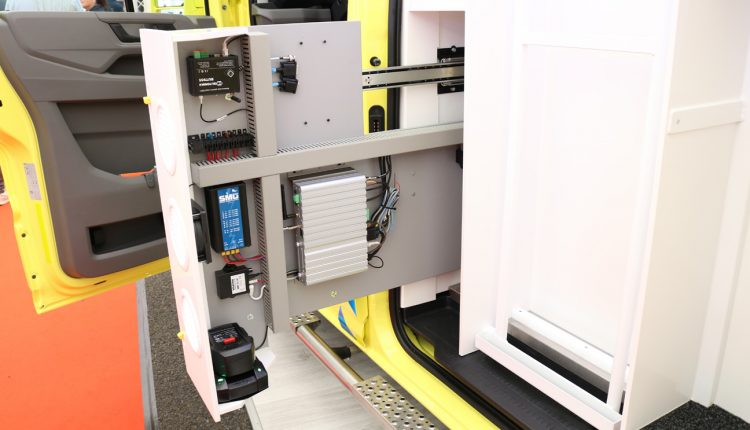 decluttering inside a Visser ambulance