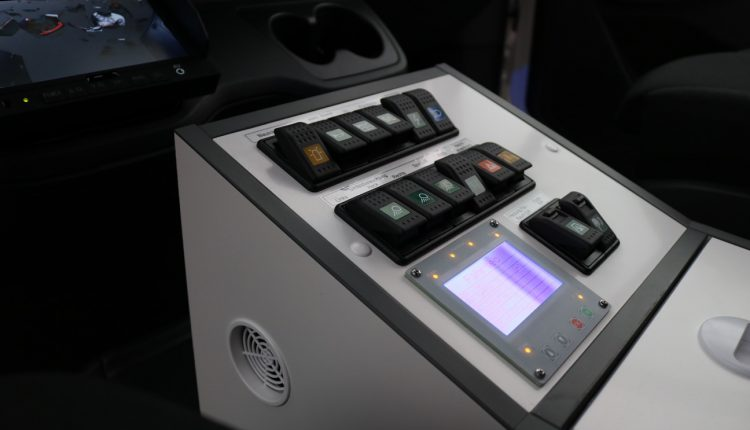 Command table inside a Fahrtec ambulance