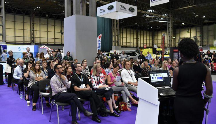 Seminar speaker with audience