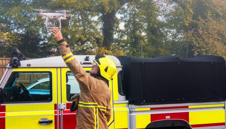 Firefighter Using a Drone/UAV